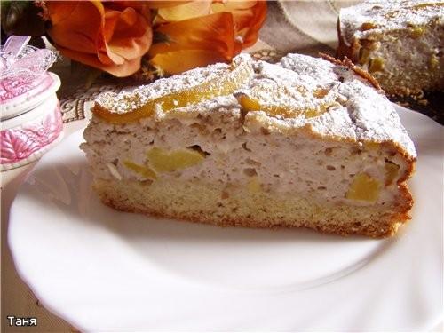 Творожно-ореховый пирог с персиками - 2