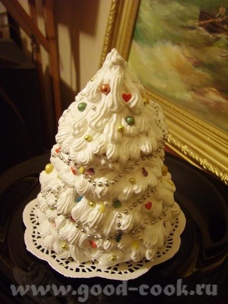 Торт Елка Внутри бисквит +крем сливки +ягоды