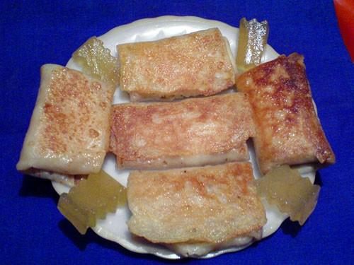 Блинчики с творогом и арбузными цукатами
