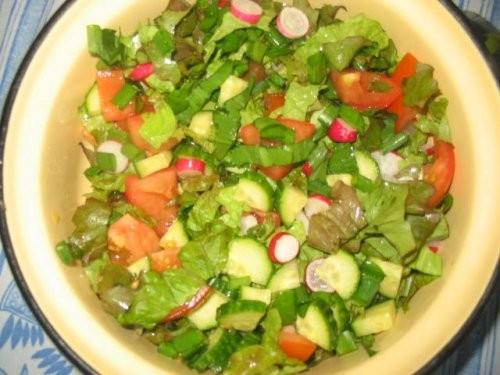 яичница салатик гриль колбаски ещё один салатик щи со щавелем(как с капустой только вместо капусты... - 2