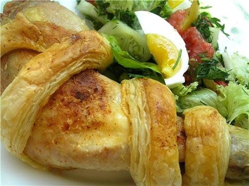 Куриные окорочка с сыром в слоеном тесте Курица с виноградом