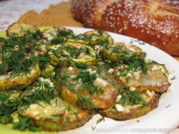 Жареные кабачки с чесночком и укропом