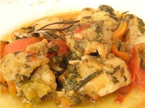 Рыбное рагу с овощами и щавелем