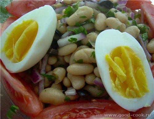 Люся несу спасибо за Пиаз-фасолевый салат с луком, яйцами и маслинами