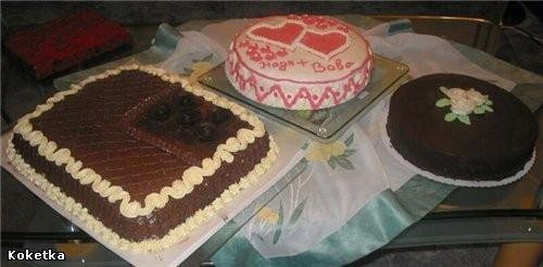 """вот и я с первыми фотографиями сюда делала на свадьбу двоюродной сестре три тортика """"киевский торт""""..."""