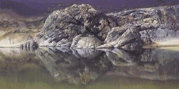 Это изображение скалы в озере Бирманиан (Бирма)