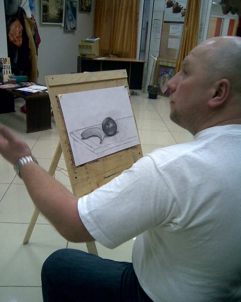 Первая картина по индивидуальному уроку 20*40 см, холст на картоне - 10