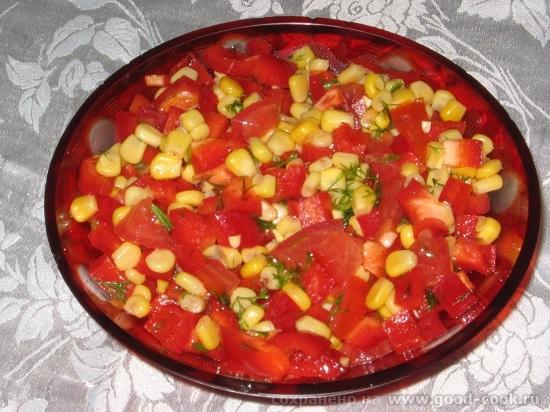 Салат кукуруза помидор перец болгарский