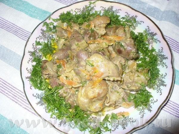 куриные потраха с овощами состав 500гр сердечек куриных 500гр желудочек 3 моркови 8 средних луковиц...