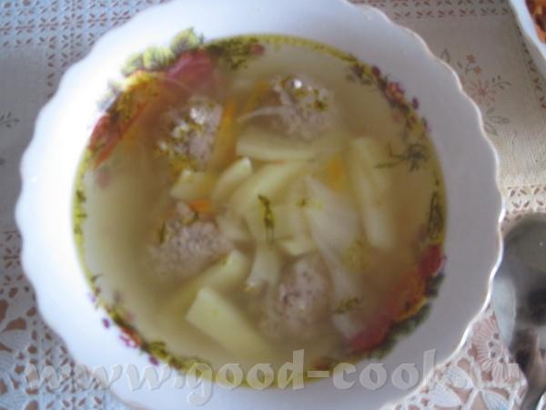 Легкий суп с фрикадельками что нужно: * Мясной фарш * Капустка * Картошка * Морковка * Лук * Болгар... - 4