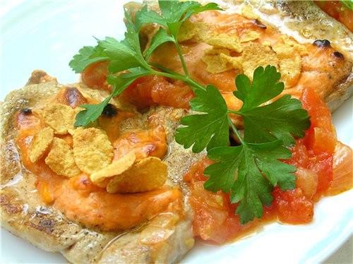 Свиные отбивные в томатном соусе Свиные шницели с соусом песто и моцареллой