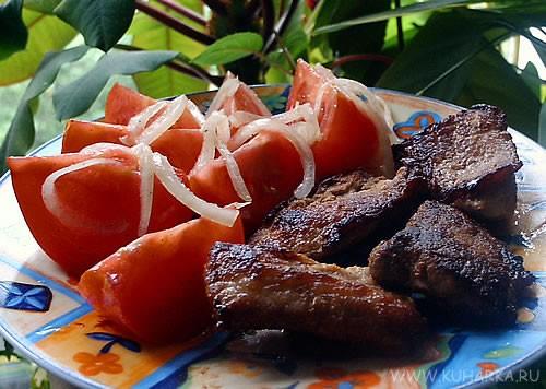 Как у всех вкусно Сегодня сделала жареную маринованную свинину с помидорным салатиком от neposedka