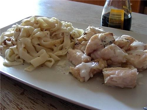 морской язык с макаронами блюдо - эксперемент режим варка на пару 20 мин в корзинку кусками рыбу, п...