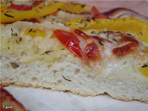 Фокачча с перцем,помидором и моцареллой - 2