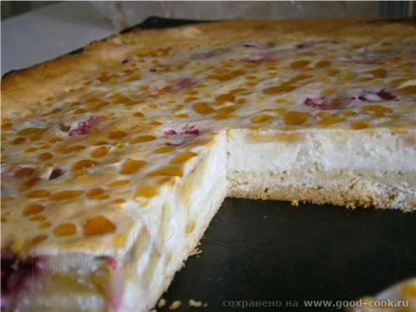 Творожный тарт с бананом и вишней Для основы: 1 ст - 3