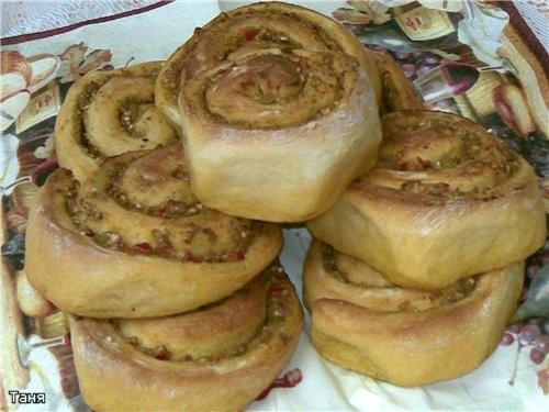 Хлебно-мясной батон с капустой Хлебный кругляш с баклажаном и сыром Дрожжевые булочки с овощной пас... - 4