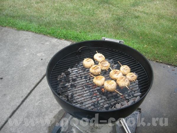 Привет, вот несу вам поесть: шашлыки куриные и грибы , запивали пивом - 2