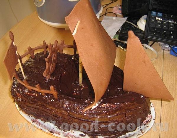 "Торт ""Пиратский галеон"" Коржи - Торт ""Шоколад на кипятке"" (Спасибо Моргане - 3"