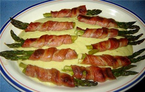 Espбrragos envueltos en bacon con salsa Спаржа, завернутая в бекон под соусом Спаржа - 20 шт - 3