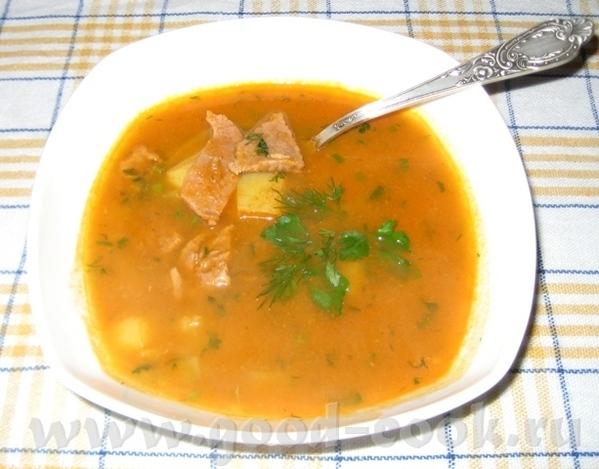 Суп с кабачковой икрой Нарезать мясо тонкими ломтиками и поставить варить