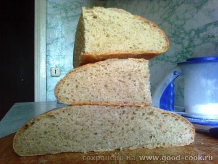 Вот такой получился хлеб на закваске Закваска ржаная хмелевая, мука пшеничная 1 сорта, вода, соль - 2