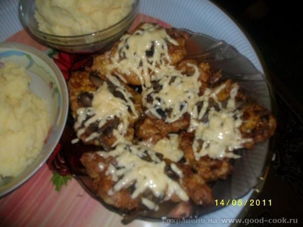 продолжение бутерброды с сливочным сыром + икра отбивная с грибами и сыром салат с фасолью,кукурузкой и сухариками,... - 2