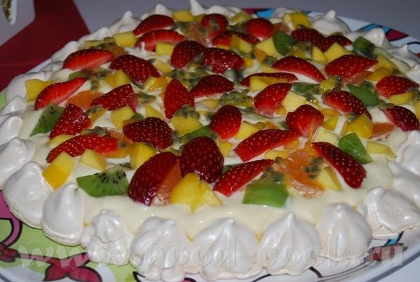 Торт-безе с апельсиновым кремом и свежими фруктами=) На 8 порций 4 белка 2дл