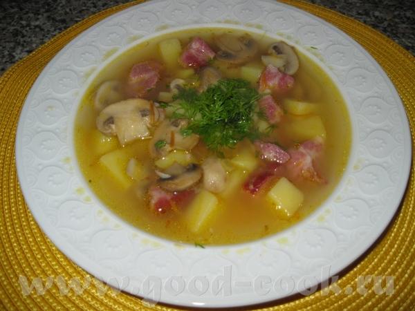 У нас на первое суп гороховый из капчюшки с грибками
