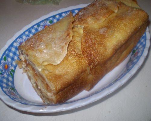 Блинчатый тортик 8-10 блинчиков 300 г творога, 2 ст