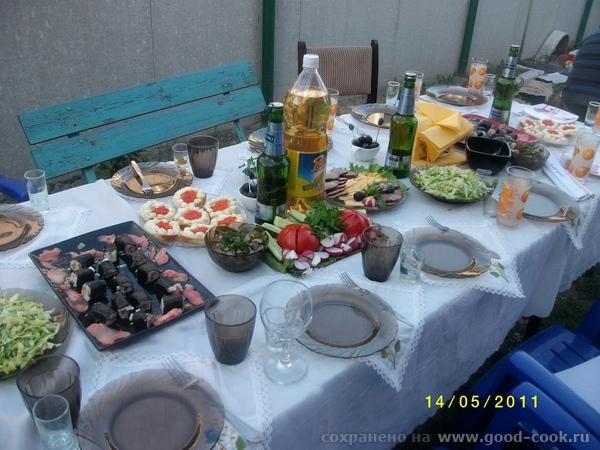 несу вам тарелочки с моего дня рождения вот общий стол,правда еще не все на нем еще на угольках суши и гриб...