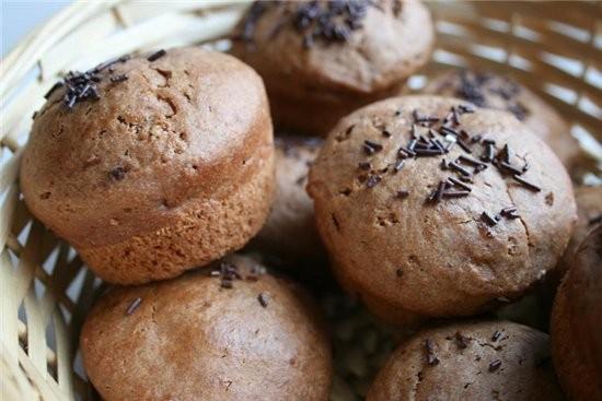 Шоколадные кексы с творожной начинкой для теста: 200 г муки 4 ч