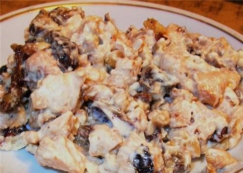 За вчеранший вкусный ужин покорнейше благодарю Ирину Кутову за Салат из курицы с черносливом И Инну...