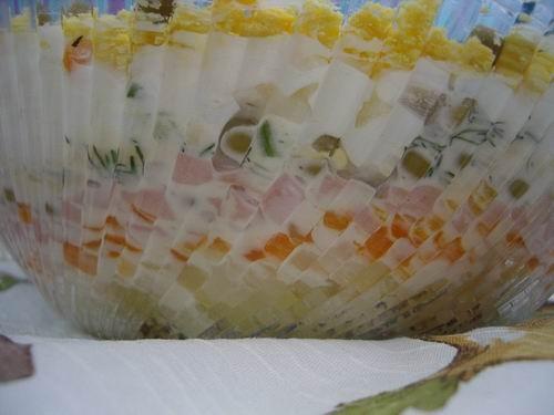 салат Итак 150г вареного мяса или варён колбаски, 3 крупные вареные картофелины, 4 вареных яйца, 1... - 2