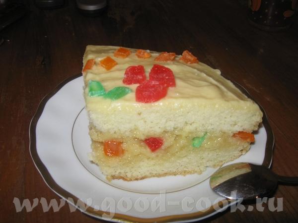 Бисквит с кремом из белого шоколада и цукатами Бисквит брала обычный, нежный и мною любимый от Olil...