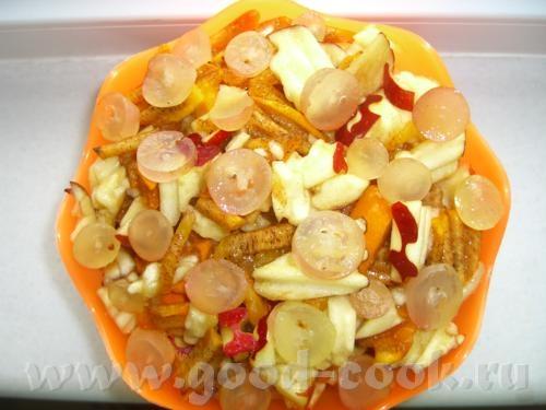 """Картошка """"в решёточку"""" Таскебаб из курицы с айвой Фруктовый салат """"Пуговка"""" - 5"""