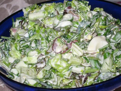 Салат с 2 видами зеленого салата Салат из редьки и жаренного лука - 2
