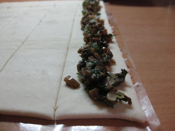 Грибной пирог-спираль