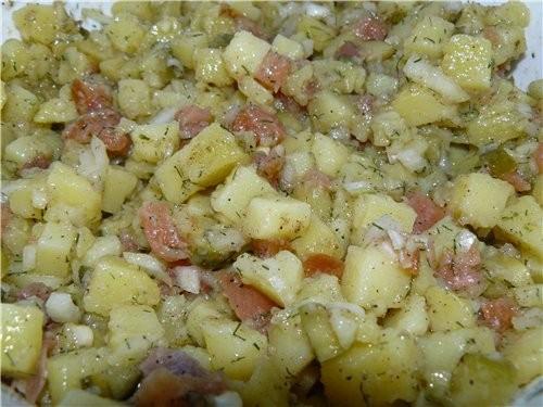 Картофельный салат с семгой(лакс) Картошкa, отвар
