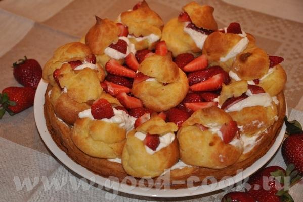 Заварной торт с ягодами