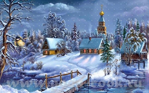 На мой взгляд очень хороший пейзажик зимний и с церквушкой