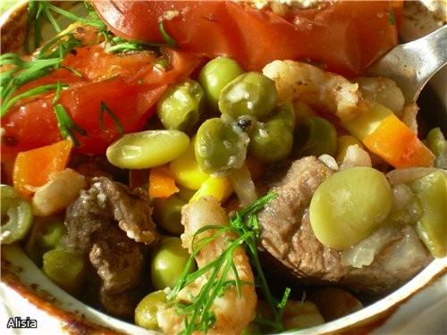 Горшочек Овощной с Креветками и Говядиной - 2