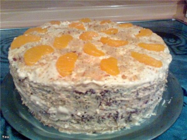 А я принесла тортик Торт мандариновый Обычный бисквит,разрезанный на 3 коржа,пропитанный мандаринов...