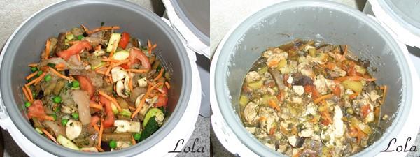 Курица в овощах до и после
