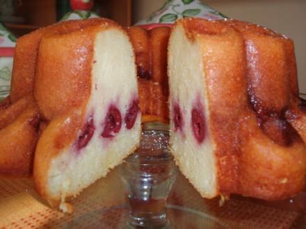 Манный кекс с вишней - 3