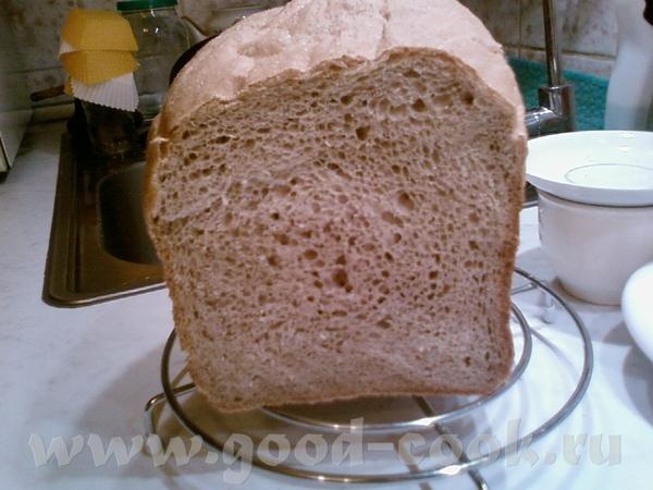Испекла хлеб из цельнозерновой муки , времени нет, поэтому пекла в хлебопечке, рецепт брала здесь - 2