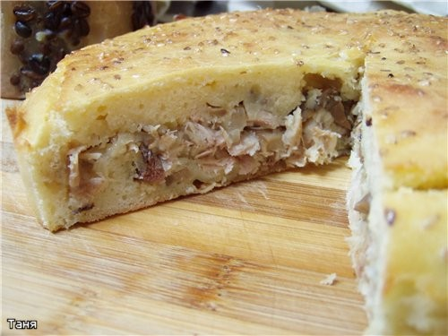 Быстрый пирог с курицей и грибами - 2