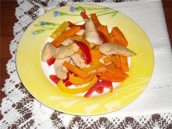 Куриное филе с тыквой и сладким перцем.