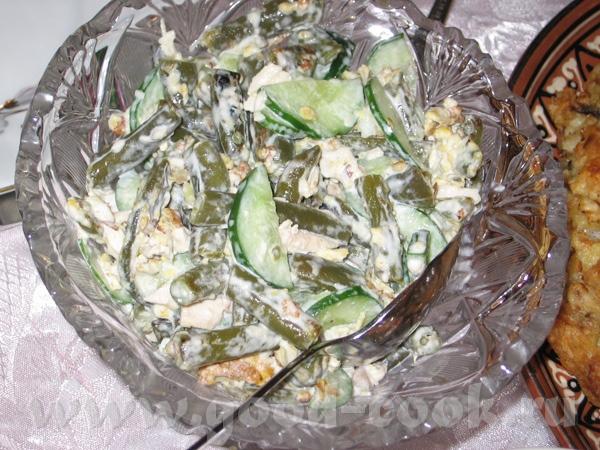 """Салат """"Весна"""" зеленая фасоль - 300-400 гр яйца - 2 куриная грудинка - половина 1 свежий огурец майо..."""