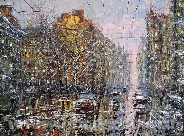 Очень хорошая идея, красиво и интересно Посмотрите какая интересная зима у художника Дмитрия Кустан... - 2