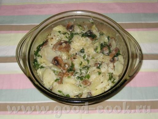 Картофель с грибами в микроволновке В форму налить немного растительного масла, порезать луковицу н...